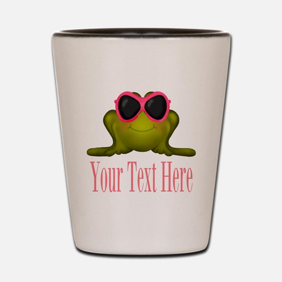 Frog in Pink Sunglasses Custom Shot Glass