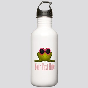 Frog in Pink Sunglasses Custom Water Bottle