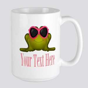 Frog in Pink Sunglasses Custom Mugs