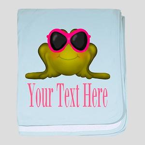 Frog in Pink Sunglasses Custom baby blanket