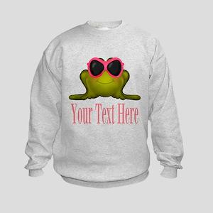 Frog in Pink Sunglasses Custom Sweatshirt