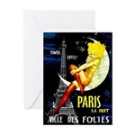 Paris La Nuit Ville des Folies Greeting Cards