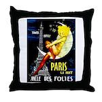 Paris La Nuit Ville des Folies Throw Pillow