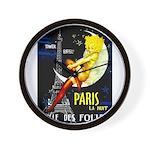 Paris La Nuit Ville des Folies Wall Clock