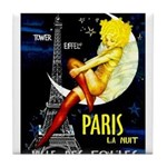 Paris La Nuit Ville des Folies Tile Coaster