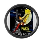 Paris La Nuit Ville des Folies Large Wall Clock
