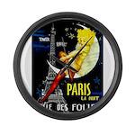 Paris La Nuit Ville des Folies Large Wall Clock