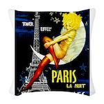 Paris La Nuit Ville des Folies Woven Throw Pillow