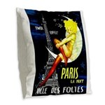 Paris La Nuit Ville des Folies Burlap Throw Pillow