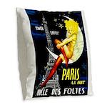 Paris La Nuit Ville des Folies Burlap Throw Pillow