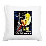 Paris La Nuit Ville des Folies Square Canvas Pillo