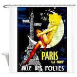Paris La Nuit Ville des Folies Shower Curtain