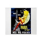 Paris La Nuit Ville des Folies Throw Blanket