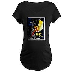 Paris La Nuit Ville des Folies Maternity T-Shirt