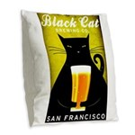 Black Cat Brewing Co. Burlap Throw Pillow