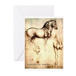 Leonardo da Vinci Study of Horses Greeting Cards