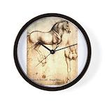 Leonardo da Vinci Study of Horses Wall Clock