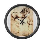 Leonardo da Vinci Study of Horses Large Wall Clock