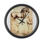 Leonardo da Vinci Study of Horses Large Wall Clock