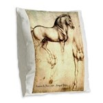 Leonardo da Vinci Study of Horses Burlap Throw Pil