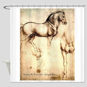 Leonardo da Vinci Study of Horses Shower Curtain