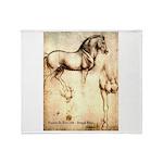 Leonardo da Vinci Study of Horses Throw Blanket