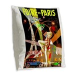 Foire De Paris Vintage Travel Poster Burlap Throw