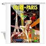 Foire De Paris Vintage Travel Poster Shower Curtai