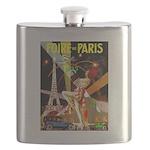 Foire De Paris Vintage Travel Poster Flask