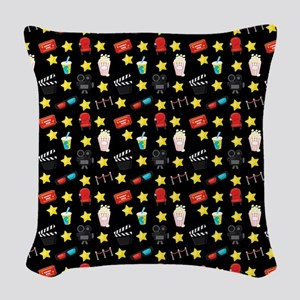Movie Themed Items Pattern Woven Throw Pillow