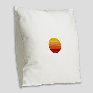 North Carolina - Ocean Isle Be Burlap Throw Pillow