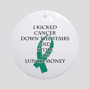 Cancer Bully (Teal Ribbon) Round Ornament