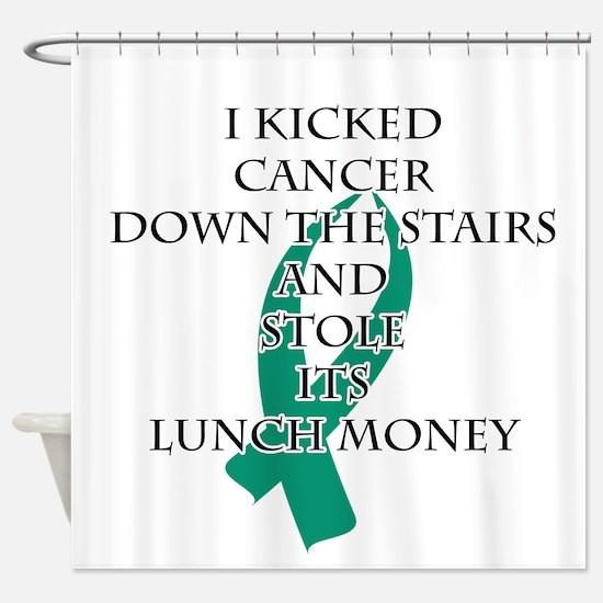 Cancer Bully (Teal Ribbon) Shower Curtain