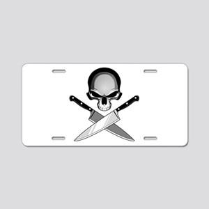 Skull And Chef Knives Aluminum License Plate