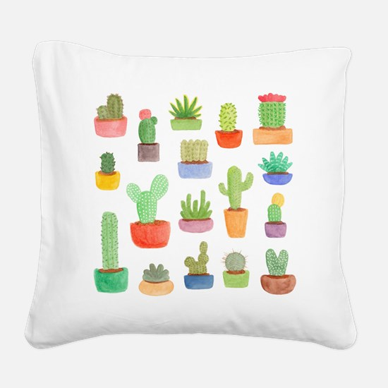 Pots of Cactus and Succulents Square Canvas Pillow