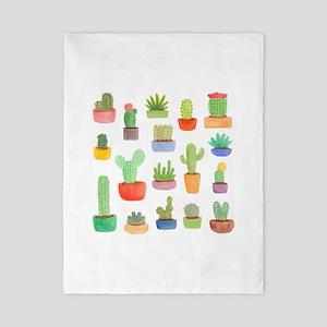 Pots of Cactus and Succulents Twin Duvet