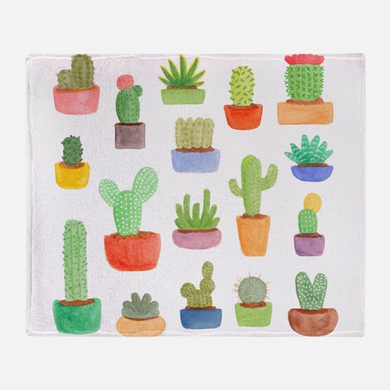 Pots of Cactus and Succulents Throw Blanket