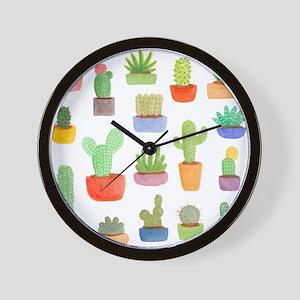 Pots of Cactus and Succulents Wall Clock
