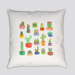 Pots of Cactus and Succulents Everyday Pillow
