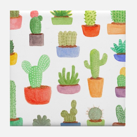 Pots of Cactus and Succulents Tile Coaster
