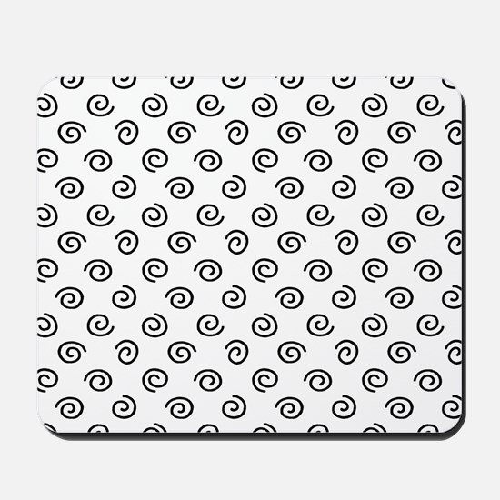 Black Spirals Pattern Mousepad