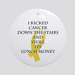 Cancer Bully (Gold Ribbon) Round Ornament
