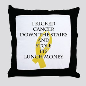 Cancer Bully (Gold Ribbon) Throw Pillow