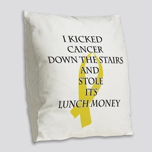 Cancer Bully (Gold Ribbon) Burlap Throw Pillow