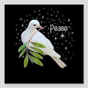 """Peace Doves Stars Square Car Magnet 3"""" x 3"""""""