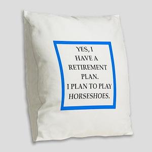 horseshoes Burlap Throw Pillow