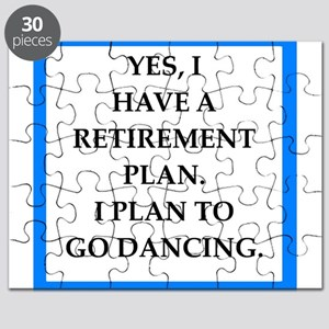 retirement joke on gifts and t-shirts. Puzzle