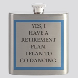 retirement joke on gifts and t-shirts. Flask