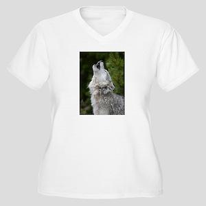 Morning Wolf  Women's Plus Size V-Neck T-Shirt
