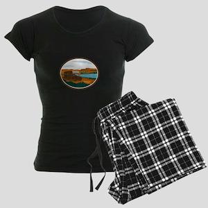 RV Camper Van Desert Scene Oval Retro Pajamas